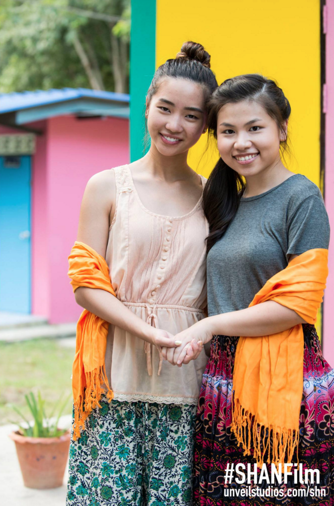Actresses Teresa Ting and Vanessa Toh UNiTE against violence against women on the set of SHANFilm